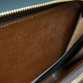 新喜皮革社製オイルコードバンのコニャック色のラウンドファスナー長財布(ゴールド色)-1-14