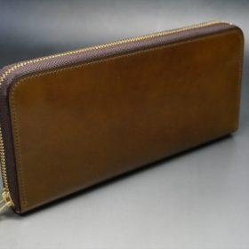 新喜皮革社製オイルコードバンのコニャック色のラウンドファスナー長財布(ゴールド色)-1-2