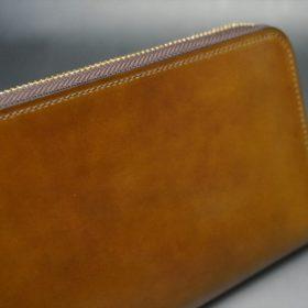 新喜皮革社製オイルコードバンのコニャック色のラウンドファスナー長財布(ゴールド色)-1-3