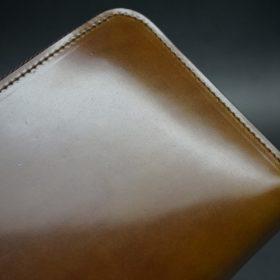 新喜皮革社製オイルコードバンのコニャック色のラウンドファスナー長財布(ゴールド色)-1-4
