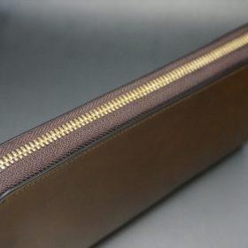 新喜皮革社製オイルコードバンのコニャック色のラウンドファスナー長財布(ゴールド色)-1-5