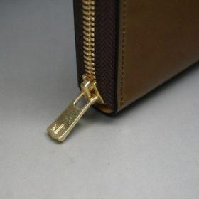 新喜皮革社製オイルコードバンのコニャック色のラウンドファスナー長財布(ゴールド色)-1-6