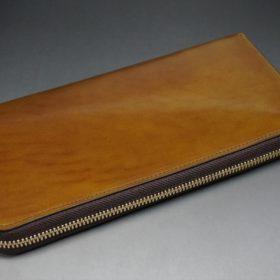新喜皮革社製オイルコードバンのコニャック色のラウンドファスナー長財布(ゴールド色)-1-7