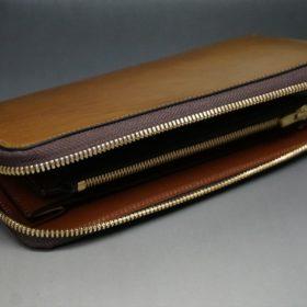 新喜皮革社製オイルコードバンのコニャック色のラウンドファスナー長財布(ゴールド色)-1-8