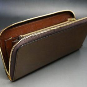 新喜皮革社製オイルコードバンのコニャック色のラウンドファスナー長財布(ゴールド色)-1-9
