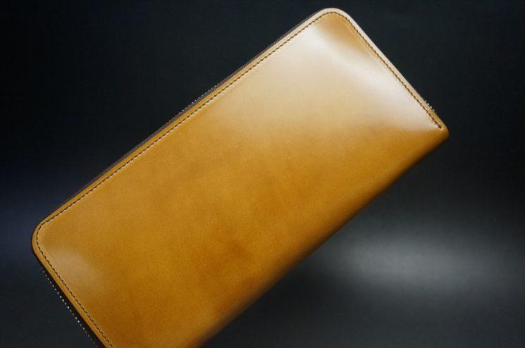 新喜皮革社製オイルコードバンのコニャック色のラウンドファスナー長財布(シルバー色)-1-1