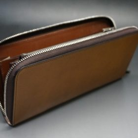 新喜皮革社製オイルコードバンのコニャック色のラウンドファスナー長財布(シルバー色)-1-10