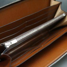 新喜皮革社製オイルコードバンのコニャック色のラウンドファスナー長財布(シルバー色)-1-11