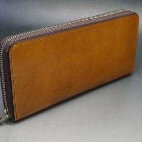 新喜皮革社製オイルコードバンのコニャック色のラウンドファスナー長財布(シルバー色)-1-2