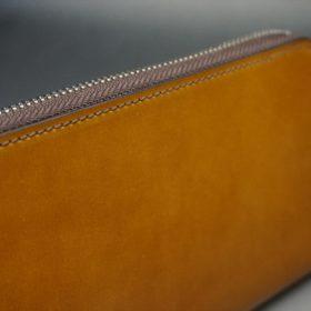 新喜皮革社製オイルコードバンのコニャック色のラウンドファスナー長財布(シルバー色)-1-3