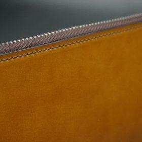 新喜皮革社製オイルコードバンのコニャック色のラウンドファスナー長財布(シルバー色)-1-4