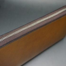 新喜皮革社製オイルコードバンのコニャック色のラウンドファスナー長財布(シルバー色)-1-5