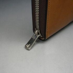 新喜皮革社製オイルコードバンのコニャック色のラウンドファスナー長財布(シルバー色)-1-6