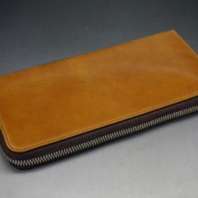 新喜皮革社製オイルコードバンのコニャック色のラウンドファスナー長財布(シルバー色)-1-7