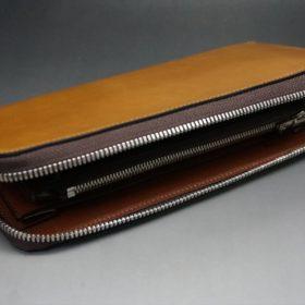 新喜皮革社製オイルコードバンのコニャック色のラウンドファスナー長財布(シルバー色)-1-8