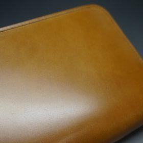 新喜皮革社製オイルコードバンのコニャック色のラウンドファスナー長財布(シルバー色)-1-9