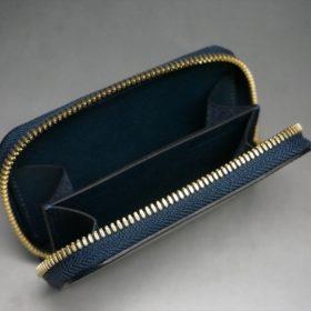 新喜皮革社製オイルコードバンのネイビー色のラウンドファスナー小銭入れ(ゴールド色)-1-11