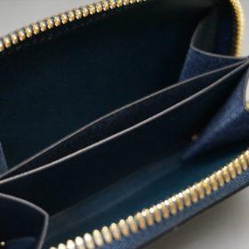 新喜皮革社製オイルコードバンのネイビー色のラウンドファスナー小銭入れ(ゴールド色)-1-13