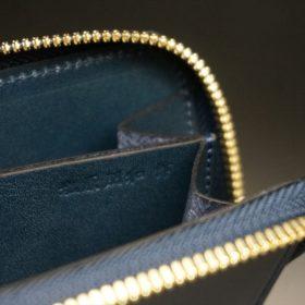 新喜皮革社製オイルコードバンのネイビー色のラウンドファスナー小銭入れ(ゴールド色)-1-14