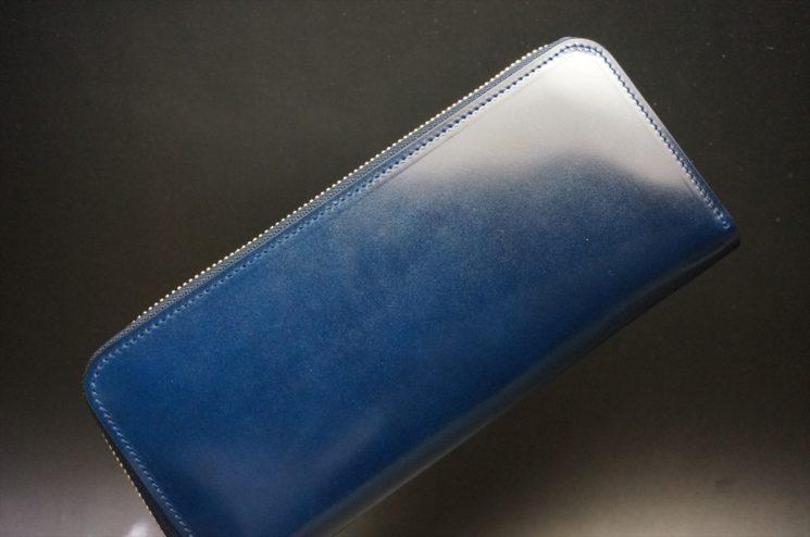 新喜皮革社製オイルコードバンのネイビー色のラウンドファスナー長財布(ゴールド色)-1-1