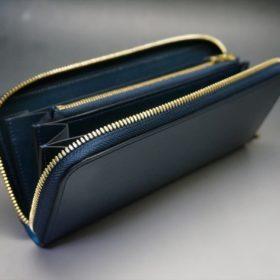 新喜皮革社製オイルコードバンのネイビー色のラウンドファスナー長財布(ゴールド色)-1-10