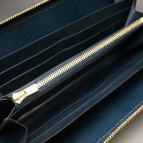 新喜皮革社製オイルコードバンのネイビー色のラウンドファスナー長財布(ゴールド色)-1-11