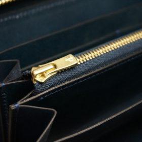 新喜皮革社製オイルコードバンのネイビー色のラウンドファスナー長財布(ゴールド色)-1-12