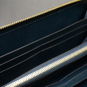 新喜皮革社製オイルコードバンのネイビー色のラウンドファスナー長財布(ゴールド色)-1-14