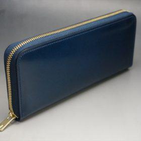 新喜皮革社製オイルコードバンのネイビー色のラウンドファスナー長財布(ゴールド色)-1-2