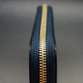 新喜皮革社製オイルコードバンのネイビー色のラウンドファスナー長財布(ゴールド色)-1-5