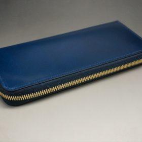新喜皮革社製オイルコードバンのネイビー色のラウンドファスナー長財布(ゴールド色)-1-6