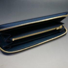 新喜皮革社製オイルコードバンのネイビー色のラウンドファスナー長財布(ゴールド色)-1-8