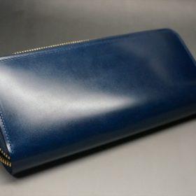 新喜皮革社製オイルコードバンのネイビー色のラウンドファスナー長財布(ゴールド色)-1-9