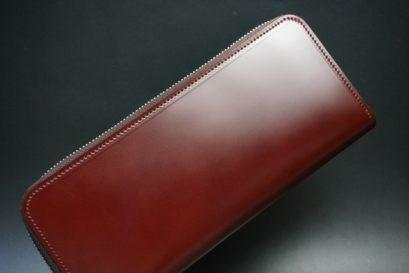 新喜皮革社製オ顔料仕上げコードバンのアンティーク色のラウンドファスナー長財布(シルバー色)-1-1