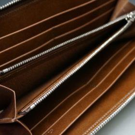 新喜皮革社製オ顔料仕上げコードバンのアンティーク色のラウンドファスナー長財布(シルバー色)-1-10