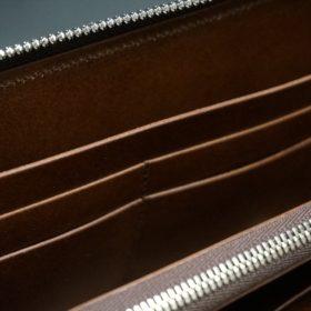 新喜皮革社製オ顔料仕上げコードバンのアンティーク色のラウンドファスナー長財布(シルバー色)-1-11