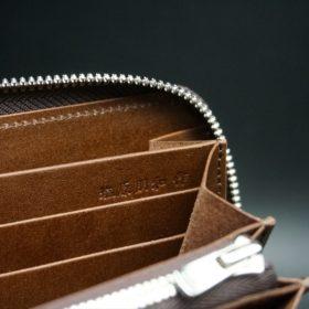 新喜皮革社製オ顔料仕上げコードバンのアンティーク色のラウンドファスナー長財布(シルバー色)-1-12