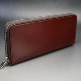 新喜皮革社製オ顔料仕上げコードバンのアンティーク色のラウンドファスナー長財布(シルバー色)-1-2