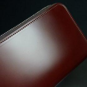 新喜皮革社製オ顔料仕上げコードバンのアンティーク色のラウンドファスナー長財布(シルバー色)-1-3