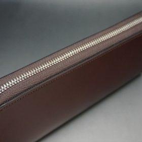 新喜皮革社製オ顔料仕上げコードバンのアンティーク色のラウンドファスナー長財布(シルバー色)-1-4