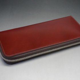 新喜皮革社製オ顔料仕上げコードバンのアンティーク色のラウンドファスナー長財布(シルバー色)-1-5