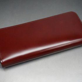 新喜皮革社製オ顔料仕上げコードバンのアンティーク色のラウンドファスナー長財布(シルバー色)-1-6