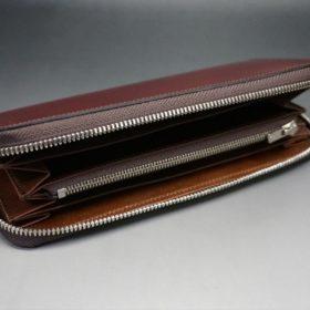 新喜皮革社製オ顔料仕上げコードバンのアンティーク色のラウンドファスナー長財布(シルバー色)-1-7