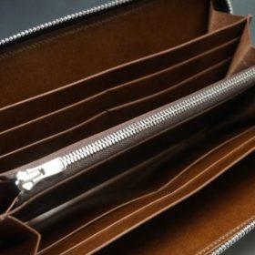 新喜皮革社製オ顔料仕上げコードバンのアンティーク色のラウンドファスナー長財布(シルバー色)-1-8