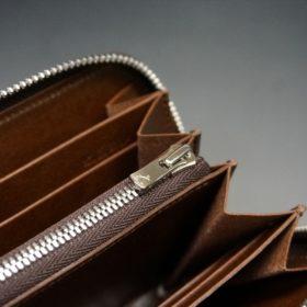 新喜皮革社製オ顔料仕上げコードバンのアンティーク色のラウンドファスナー長財布(シルバー色)-1-9