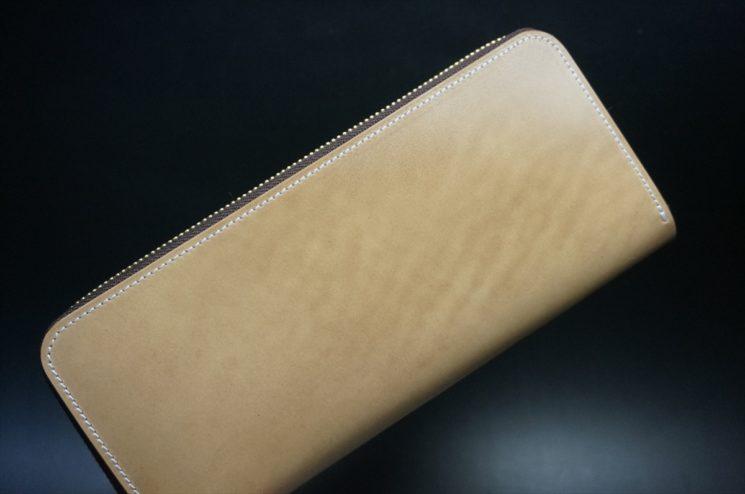 新喜皮革社製オイルコードバンのナチュラル色のラウンドファスナー長財布(ゴールド色)-1-1