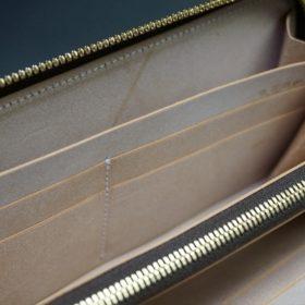 新喜皮革社製オイルコードバンのナチュラル色のラウンドファスナー長財布(ゴールド色)-1-13