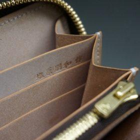 新喜皮革社製オイルコードバンのナチュラル色のラウンドファスナー長財布(ゴールド色)-1-14