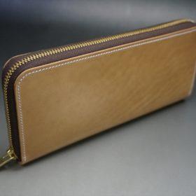新喜皮革社製オイルコードバンのナチュラル色のラウンドファスナー長財布(ゴールド色)-1-2