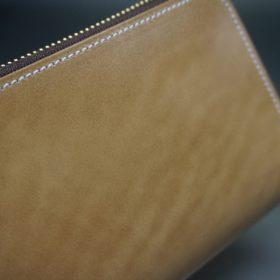 新喜皮革社製オイルコードバンのナチュラル色のラウンドファスナー長財布(ゴールド色)-1-3